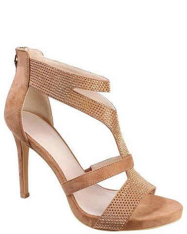 Encrusted Suedette Cut Out Sandals - Jezzelle