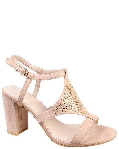 Encrusted Beige Block Heel Sandals - Jezzelle