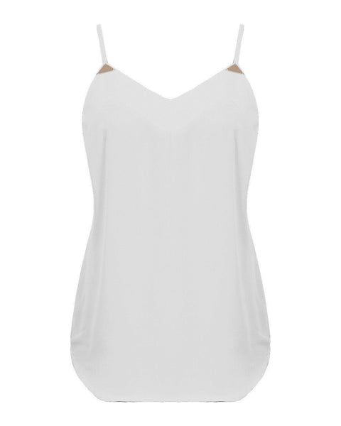 Gold Detailed Chiffon Cami Top-Jezzelle