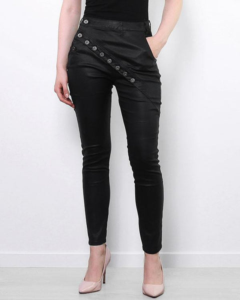 Sideway Buttons Faux Leather Jeans - Jezzelle