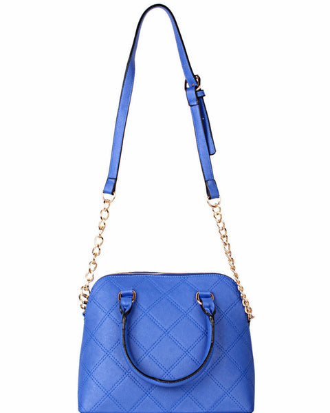 Chain Strap Quilted Blue Shoulder Bag - Jezzelle