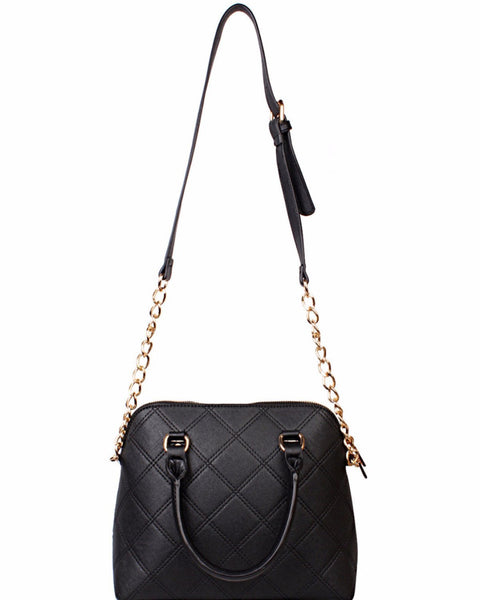 Chain Strap Quilted Black Shoulder Bag - Jezzelle
