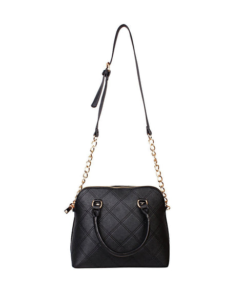 Chain Strap Quilted Black Shoulder Bag-Jezzelle