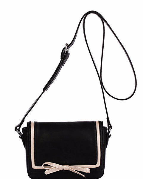 Contrast Bow Black Shoulder Bag - Jezzelle