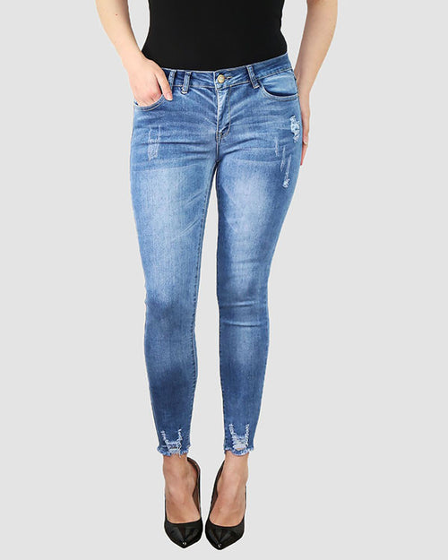 Plus Size Distressed Blue Skinny Jeans-Jezzelle