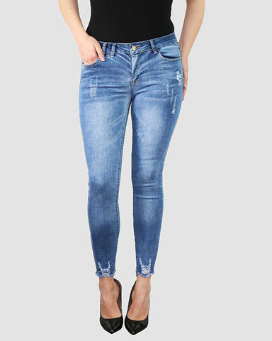 Plus Size Distressed Blue Skinny Jeans - Jezzelle