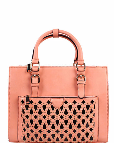 Laser Cut Out Pocket Handbag-Jezzelle