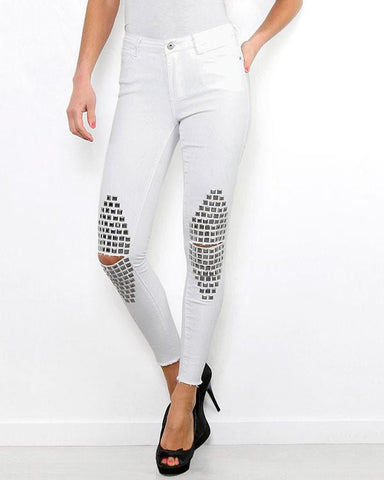 Studded Knees White Jeans-Jezzelle