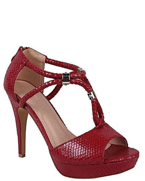 Burgundy T-Bar Sandals - Jezzelle