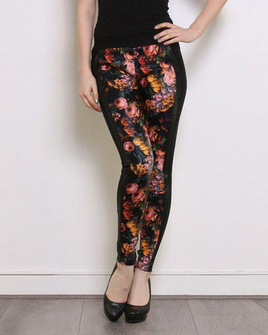 Floral Detail Black Treggings - Jezzelle