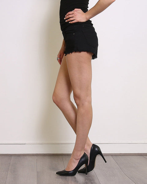 Black Denim Frayed Shorts-Jezzelle