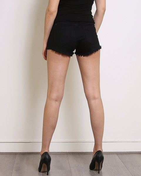 Black Denim Frayed Shorts - Jezzelle