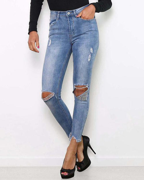 Ripped & Studded Jeans-Jezzelle
