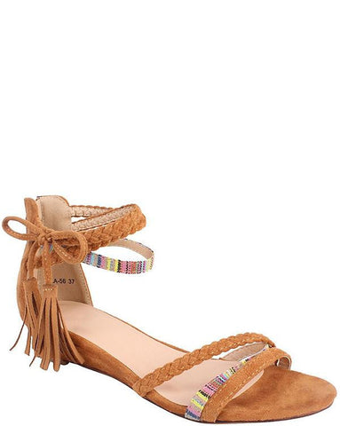 Braided Wedge Sandals - Jezzelle