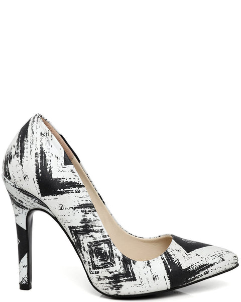 Printed Genuine Leather Pumps - Jezzelle