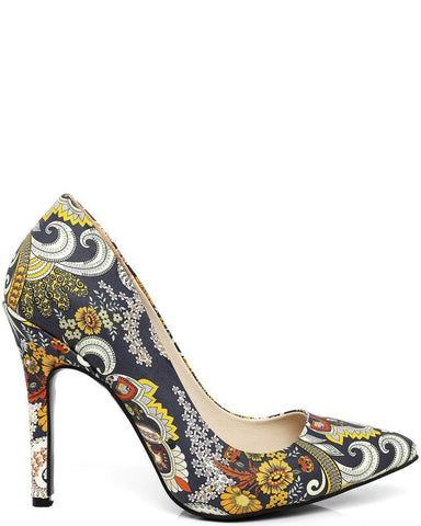 Vintage Print Leather Pumps-Jezzelle