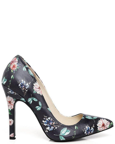 Wild Rose Print Leather Pumps-Jezzelle