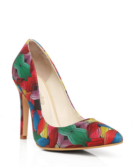 Mixed Floral Print Leather Pumps-Jezzelle