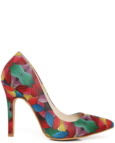 Multicolour Floral Print Leather Pumps