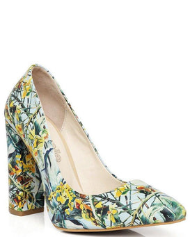 Floral Print Block Heel Leather Pumps-Jezzelle