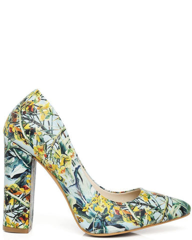 Floral Print Block Heel Leather Pumps - Jezzelle