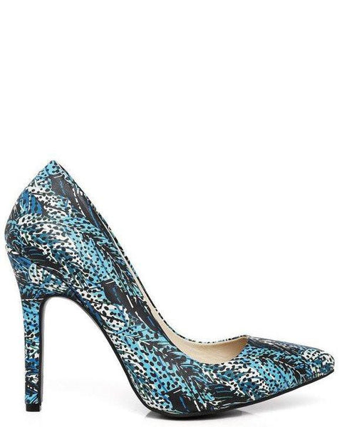 Blue Feathers Print Leather Pumps - Jezzelle