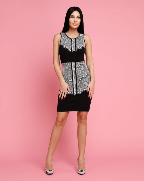 Contrast Lace Panel Bodycon Dress - Jezzelle