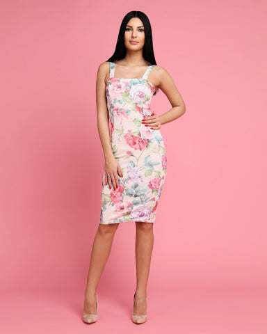 Wide Straps Floral Print Bodycon Dress - Jezzelle
