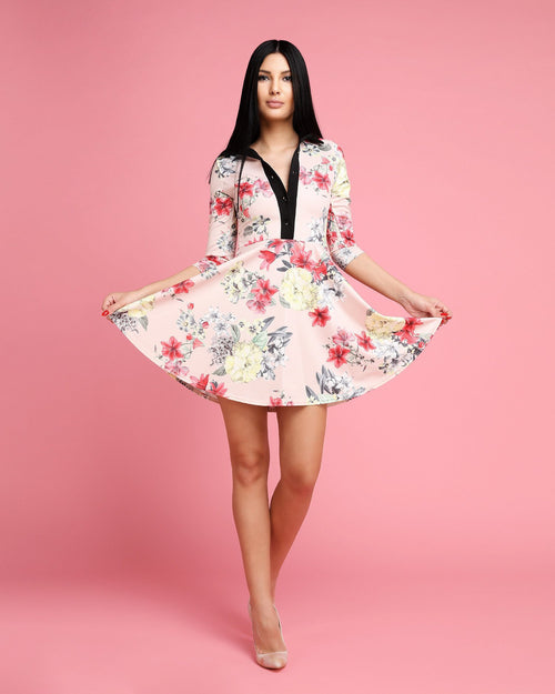 Nude Floral Collared Shirt Dress-Jezzelle