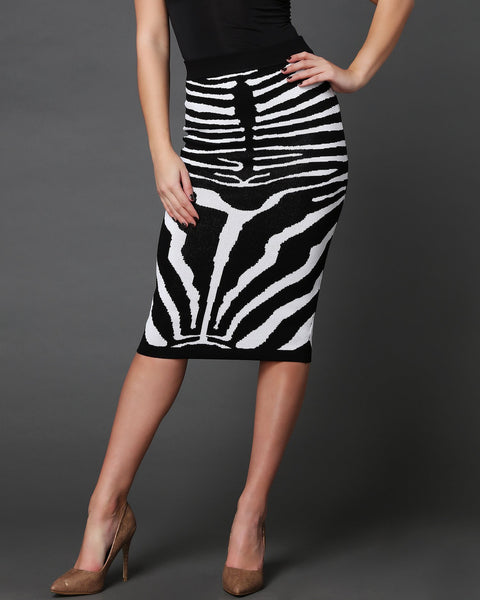 Zebra Pattern Knitted Pencil Midi Skirt - jezzelle  - 2