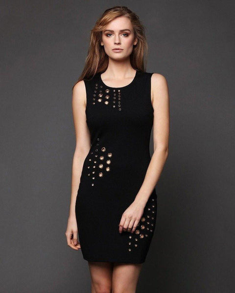 Eyelets Black Bodycon Dress-Jezzelle