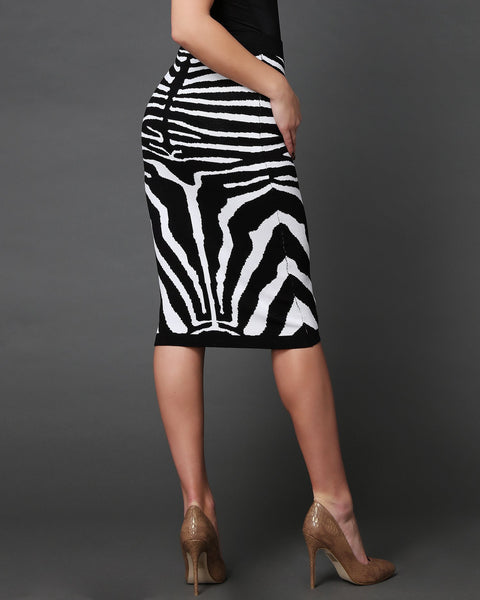 Zebra Pattern Knitted Pencil Midi Skirt - jezzelle  - 4