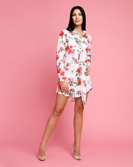 Floral Print Collared Belted Shirt Dress - jezzelle  - 2