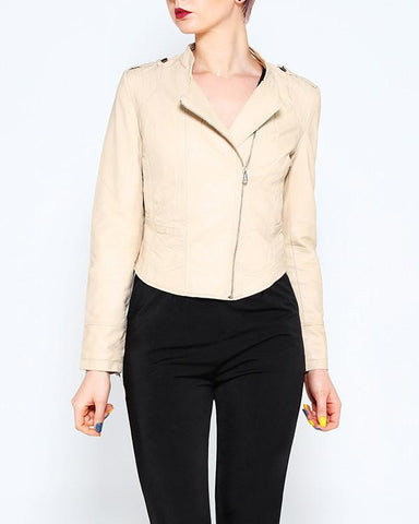 Neutral Faux Leather Biker Jacket - Jezzelle