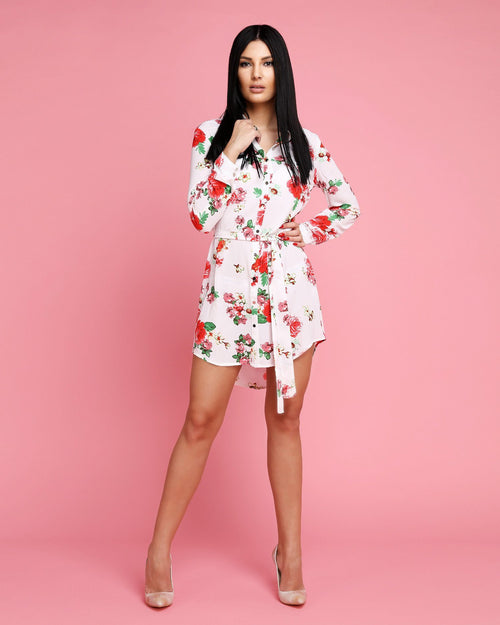 Floral Print Collared Belted Shirt Dress - jezzelle  - 1