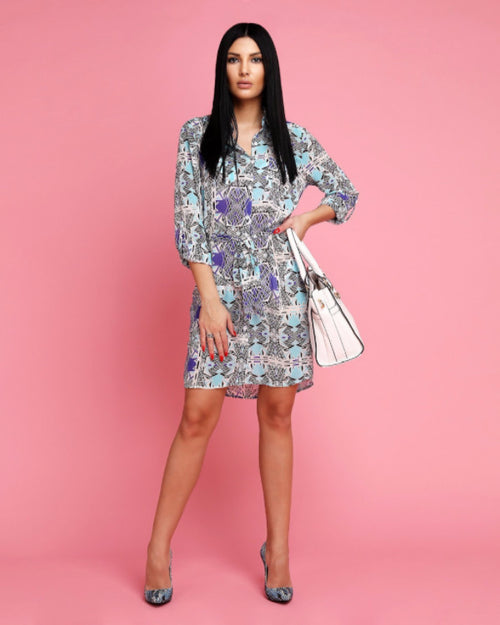 Abstract Print Belted Shirt Dress-Jezzelle