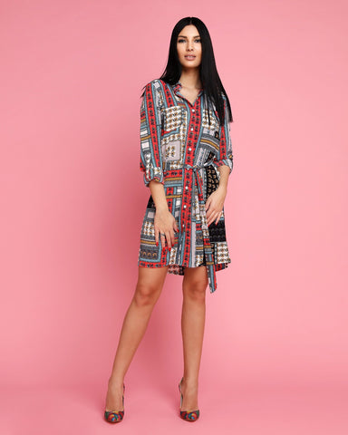 Patchwork Floral Print Belted Shirt Dress - Jezzelle