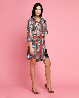Patchwork Floral Print Belted Shirt Dress-Jezzelle
