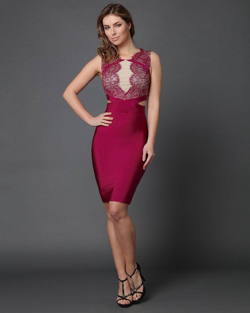 Fuchsia Lace Cut Out Sides Bodycon Dress - jezzelle  - 1
