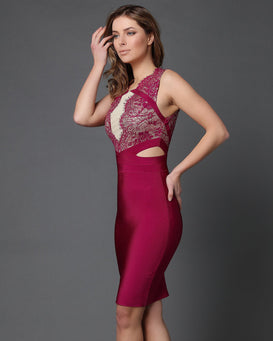 Fuchsia Lace Cut Out Sides Bodycon Dress - jezzelle  - 2