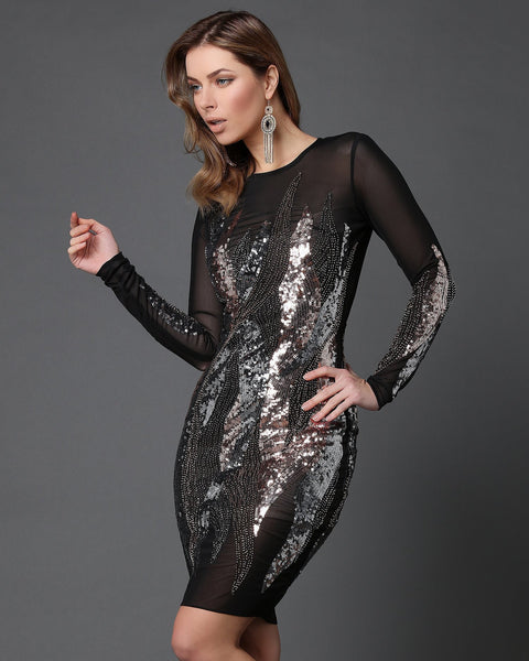 Sequins Embellished Sheer Bodycon Dress-Jezzelle