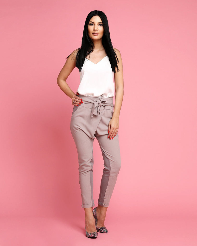 Crossover Sash Tie Trousers - jezzelle  - 2