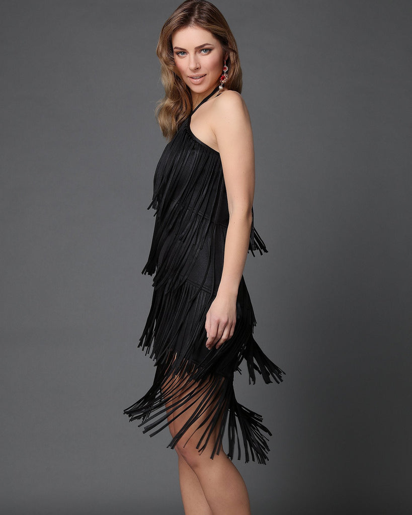 Multilayer Fringe Halterneck Flapper Dress-Jezzelle