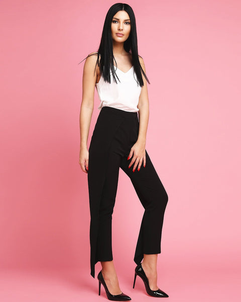 Black Frill Side Trousers - Jezzelle
