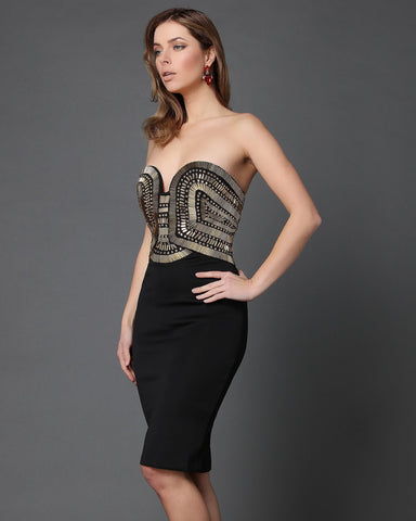 Golden Beads Embellished Black Bandeau dress - jezzelle  - 1