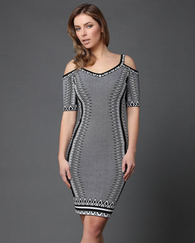 Cold Shoulder Knitted Dress-Jezzelle