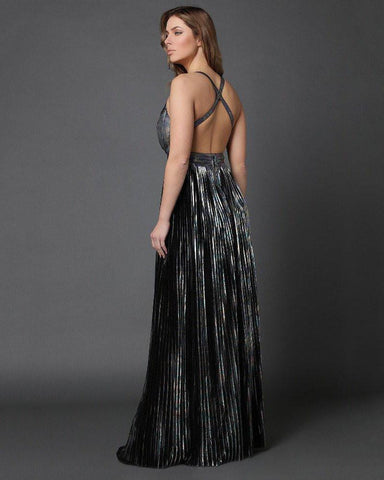Metallic Shimmer Pleated Maxi Dress-Jezzelle