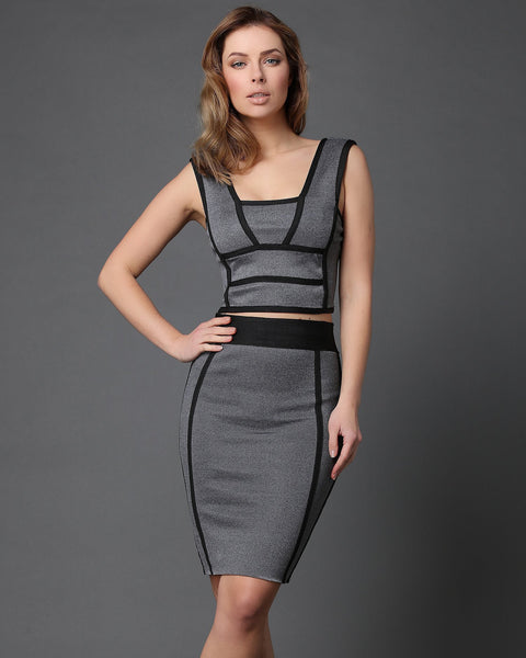 Black Piping Trim Grey Skirt Co-ord Set-Jezzelle
