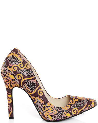 Vintage Print Elegant Leather Pumps-Jezzelle