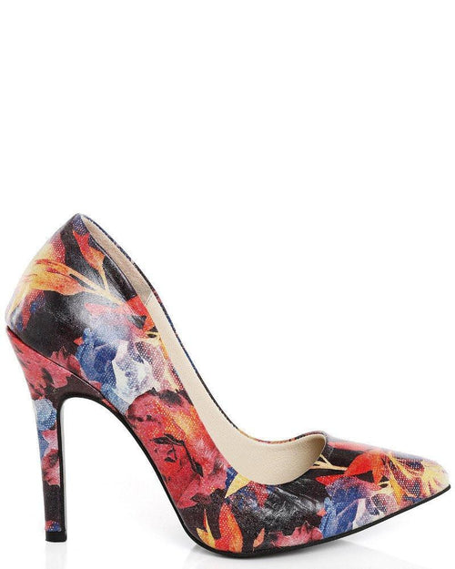 Multicolour Rose Print Leather Pumps-Jezzelle